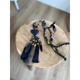 Collier coeur plumes